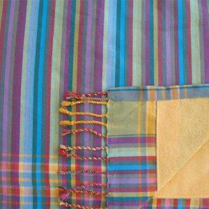 kikoy towel stripes turquoise, greens, orange