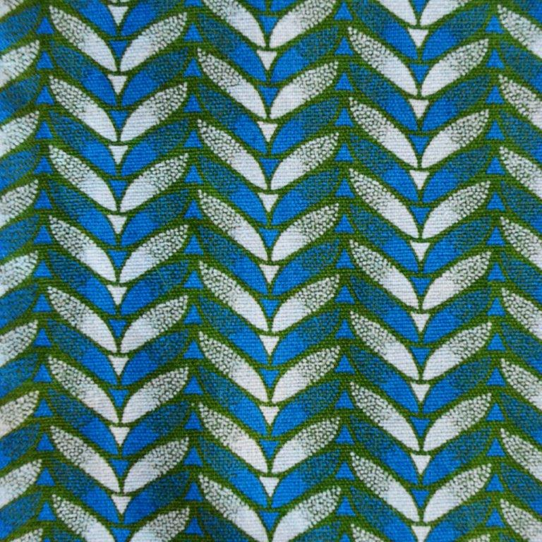 shwshwe fabric blue green and white per metre