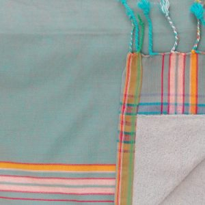 kikoy beach towl light blue with striped border