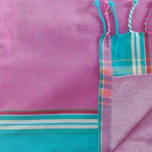 kikoy beach towel pink and turquoise