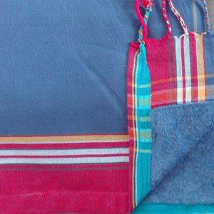 kikoy stowel blue with strawberry pink stripe border