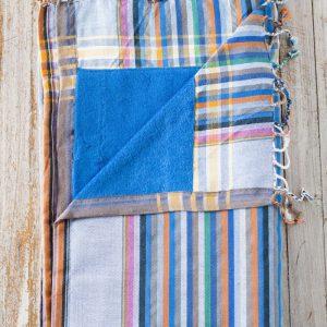 kikoy towel stripes blue terry backing