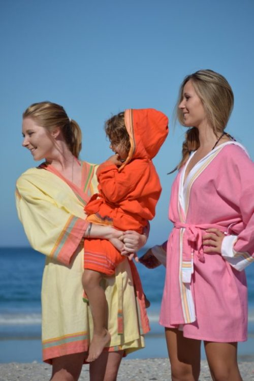 Yellow and pink Kikoy beach gowns