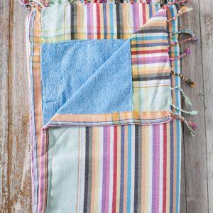 striped kikoy beach towel blue lining