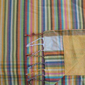 Kikoy towel for beach, yellow stripes