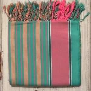 kikoy beach wrap, sarong, pink and green stripes