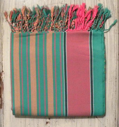 kikoy beach wrap, sarong, pink and green stripes