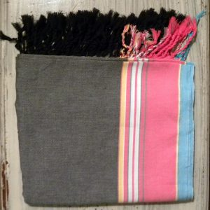 kikoy wrap, cotton, grey and pink