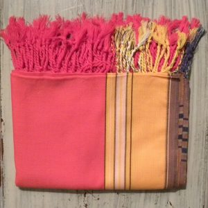 kikoy beach wrap pink and yellow