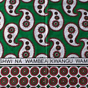kanga sarong, wrap, khanga, green & red