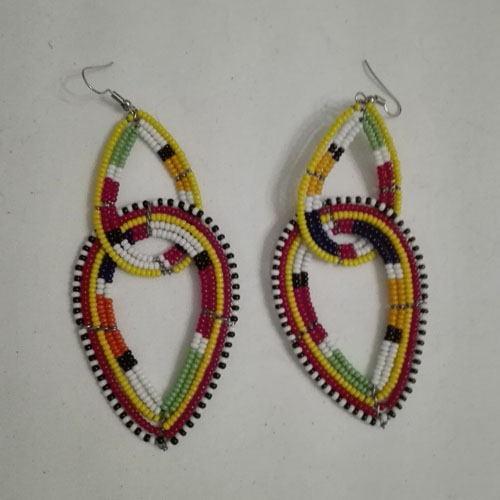 traditional maasai bead earrings, double
