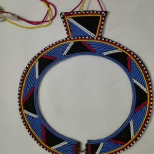maasai bead necklace, blue and black beads