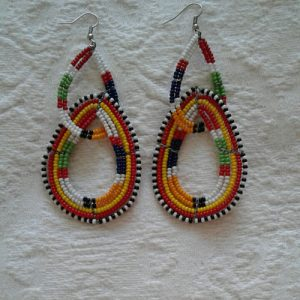 bead earrings, double design, multicolours
