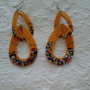 bead earrings, yellow/orange