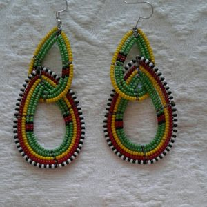 bead earrings green and yellow with red trim
