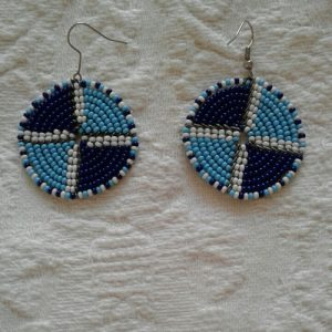bead earrings light blue, dark blue