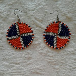 bead earrings, round, orange and black