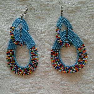 bead earrings, double, turquoise and multicolours
