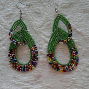 bead earrings, dark green with multicolour trim