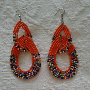 african bead earrings, orange and multicolour