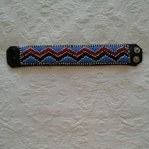 bead bracelet, african, leather backing