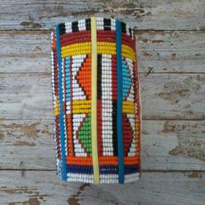 african bead bracelet, geometric design, multicolours