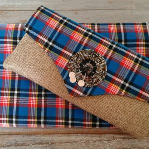 clutch bag and headscarf in blue and red shuka with bead trim