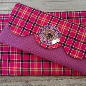 pink clutch bag and headscarf combo