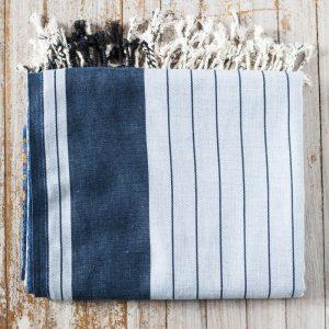 kikoy wrap blue white stripe